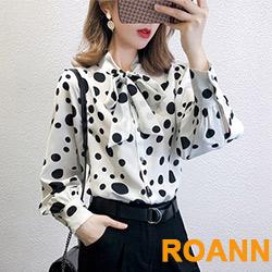 俏皮波點拼接蝴蝶結綁帶長袖襯衫 (共二色)-ROANN