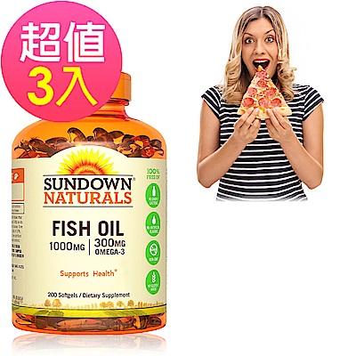 Sundown日落恩賜 高單位精純魚油x3瓶(200粒/瓶)