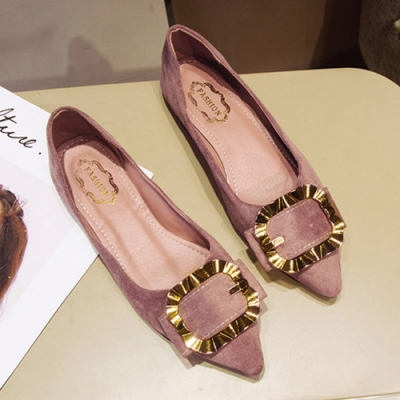 KEITH-WILL時尚鞋館 明星款優雅金屬尖頭平底鞋-粉