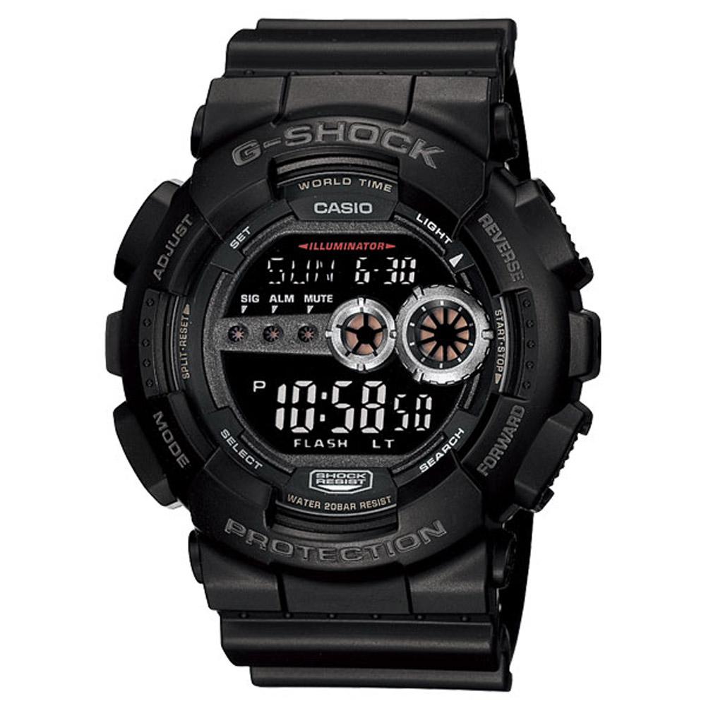 G-SHOCK 超人氣黑色覺醒耐衝撞運動錶(GD-100-1B)-黑/51.2mm