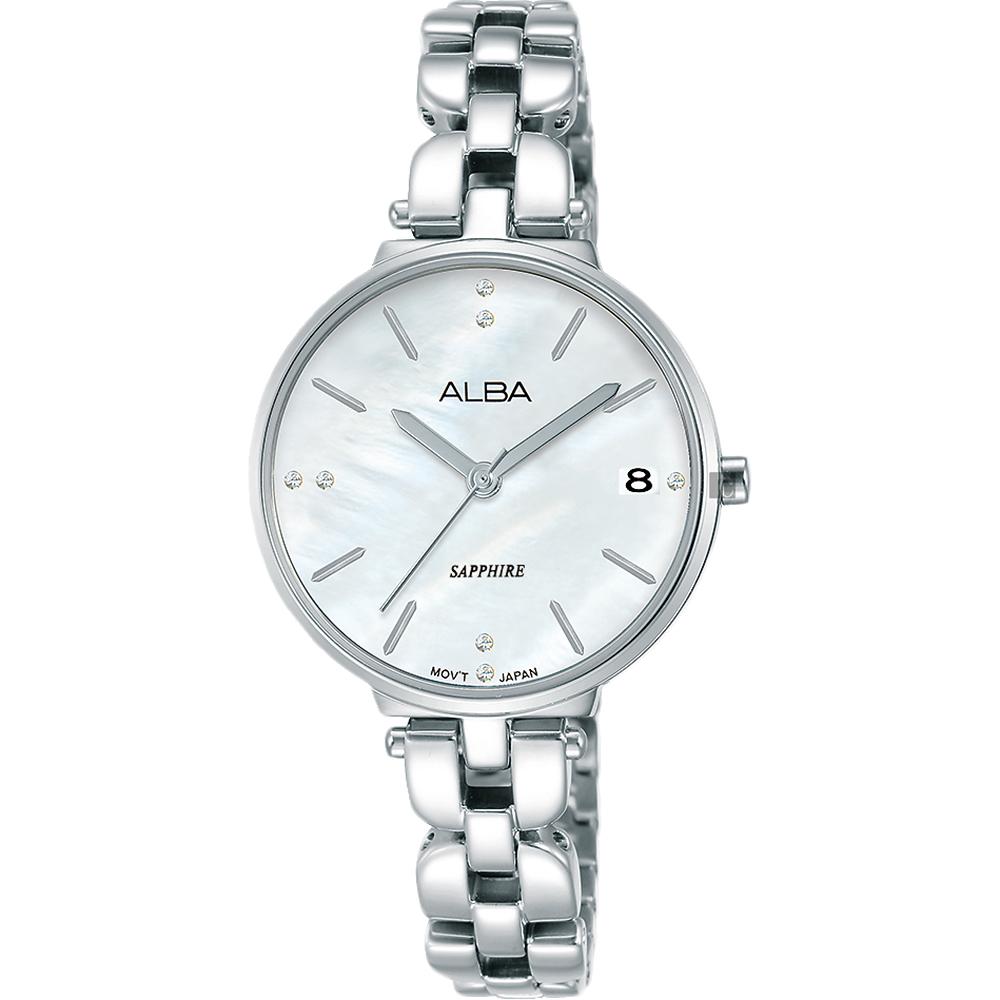 ALBA雅柏 優雅甜心風采女錶(AG8J75X1)-銀x28mm