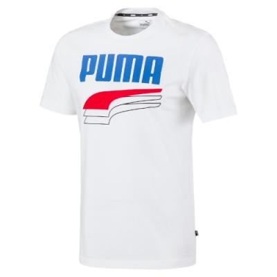 PUMA-男性基本系列Rebel短袖T恤-白色-亞規