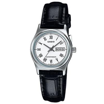 CASIO 簡約日期星期顯示指針皮帶腕錶-白(LTP-V006L-7B)/25mm