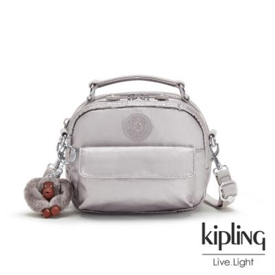 Kipling 知性光澤銀灰拉鍊兩用側背後背包-PUCK