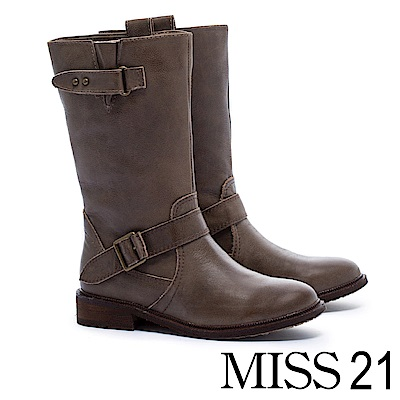中筒靴 MODA Luxury 經典牛仔雙繫帶造型擦色牛皮低跟中筒靴-咖