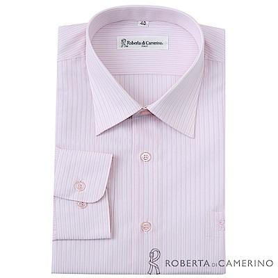 ROBERTA諾貝達 台灣製 商務紳士 條紋長袖襯衫  粉白