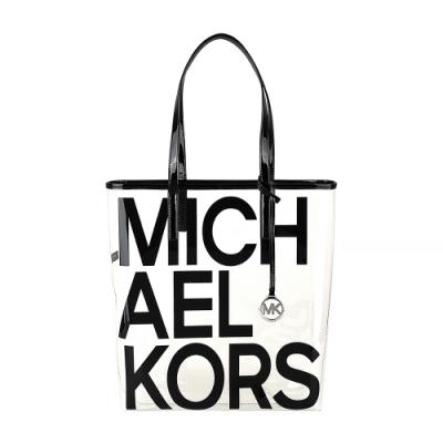 MK MICHAEL KORS 黑字LOGO PVC開放式肩背包(黑)