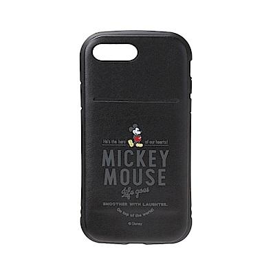 iPhone 8/7 Plus 海外限定 迪士尼 軍規防摔 插卡 軟殼 5.5吋-米奇黑