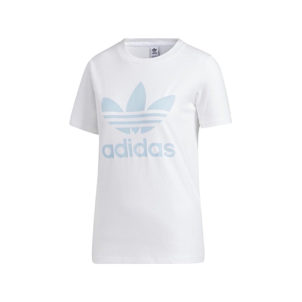 ADIDAS TREFOIL TEE 女短袖上衣-白藍-FM3293