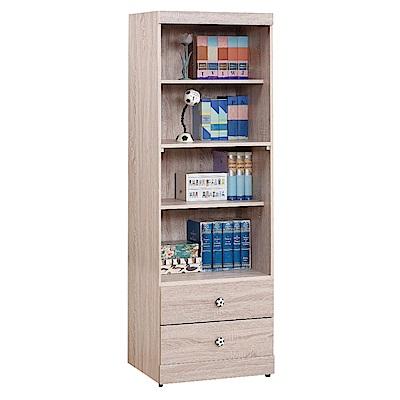 綠活居 辛克時尚2尺木紋二抽四格書櫃/收納櫃-60x39x182cm-免組