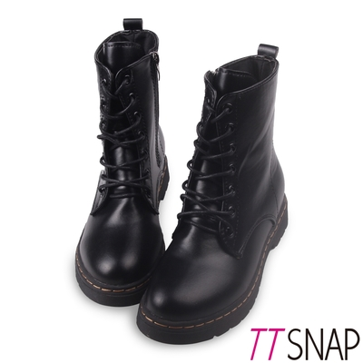 TTSNAP短靴-輕量綁帶顯瘦中筒馬丁靴 黑