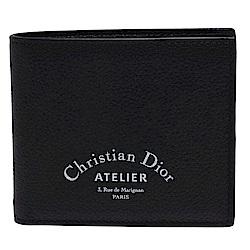 Dior 品牌Christian Dior Atelier字樣烙印粒面小牛皮折疊短夾(黑)
