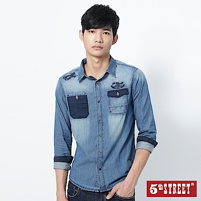5th STREET 經典不敗牛仔襯衫-男-拔洗藍