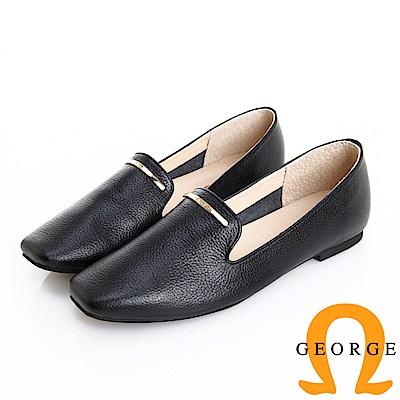 GEORGE 喬治皮鞋 真皮素面小金飾釦柔軟樂福鞋 -黑
