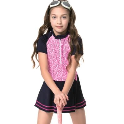 沙兒斯 泳裝 短袖連身裙女童泳裝