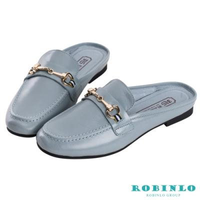 Robinlo海軍風織帶金屬飾扣真皮平底穆勒鞋 藍色
