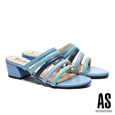拖鞋 AS 漸層配色條帶羊皮一字低跟拖鞋-藍