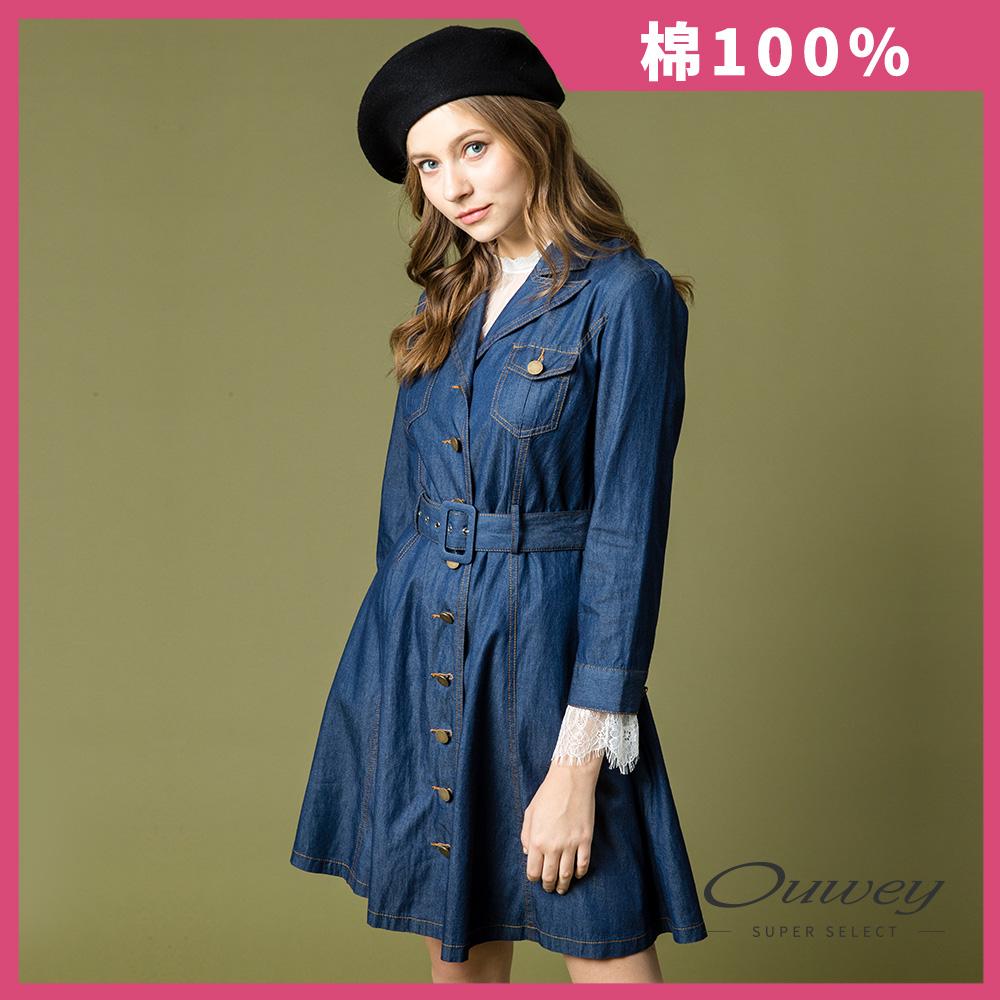 OUWEY歐薇 優雅率性牛仔長版外套(藍) @ Y!購物