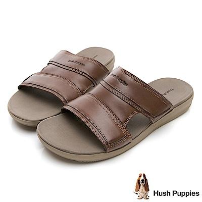Hush Puppies LEONBERGER 舒適皮革拖鞋-咖啡