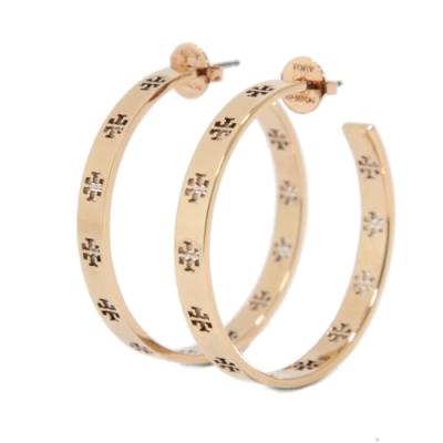 Tory Burch 金屬鏤空T字針式耳環(玫瑰金)