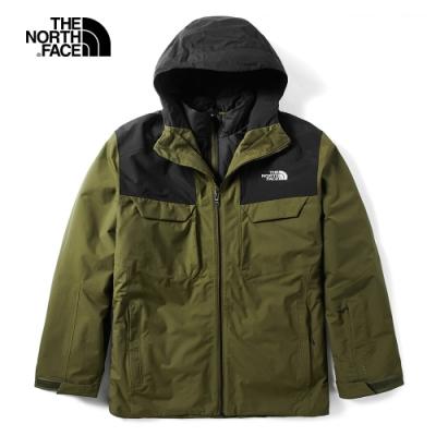 The North Face北面男款軍綠色三合一外套 3M4MWMB