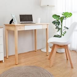 Bernice-簡約全實木抽屜書桌/工作桌/化妝桌-原木雙色-DIY-90x50x76cm