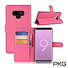 PKG 三星Note9 側翻式-精選皮套-經典款式-玫紅