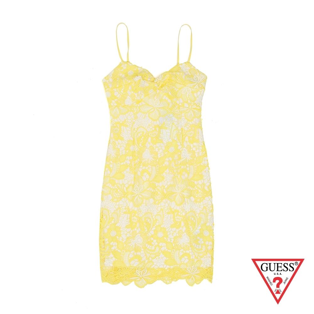 GUESS-女裝-細肩蕾絲雕花洋裝-黃