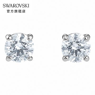SWAROVSKI 施華洛世奇 Attract 白金色方形寶石穿孔耳環