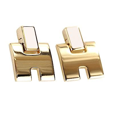 HERMES Eileen H 經典圓弧設計耳環(冰栗白x金)