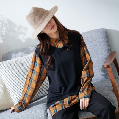 慢 生活 背心格紋襯衫假兩件上衣- 黃/紫