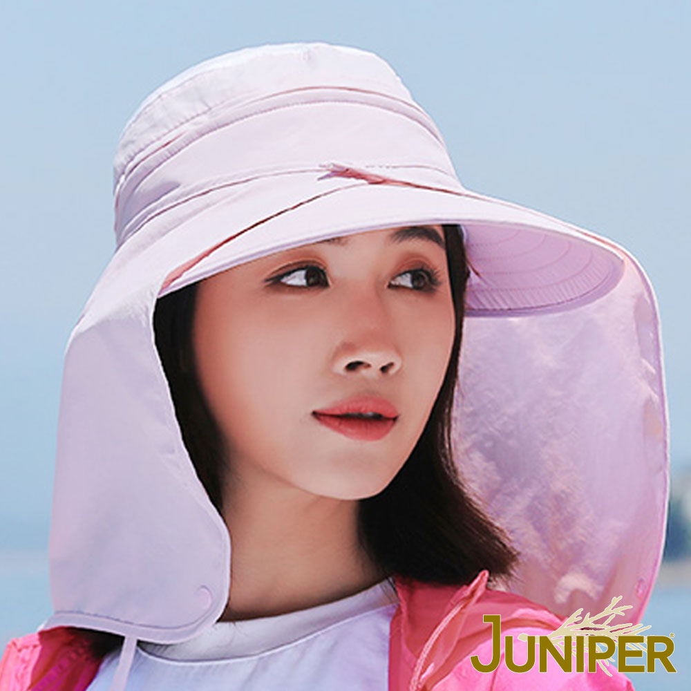 JUNIPER 女款抗紫外線UV遮陽大眉休閒空心兩用帽+可拆式披風