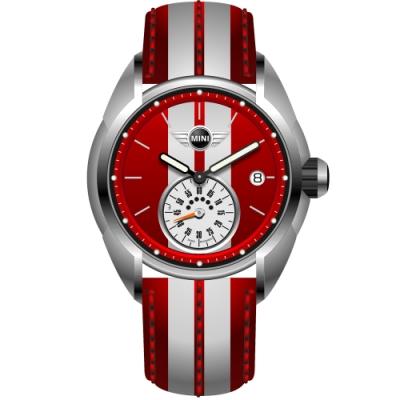 MINI Swiss Watches 石英錶 38mm 紅白小秒盤錶面 紅白條紋真皮錶帶