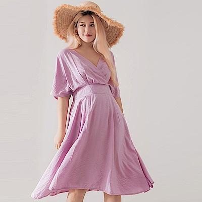 AIR SPACE PLUS 交叉領棉質傘擺洋裝(紫)