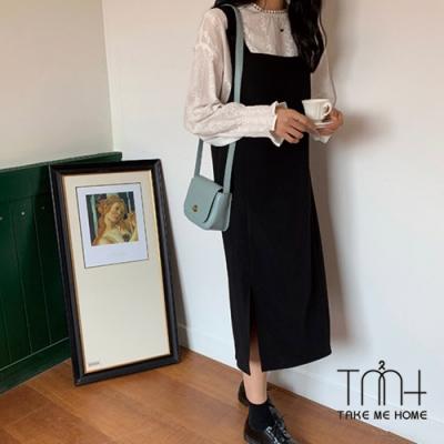 斜紋西裝面料開衩吊帶裙-TMH