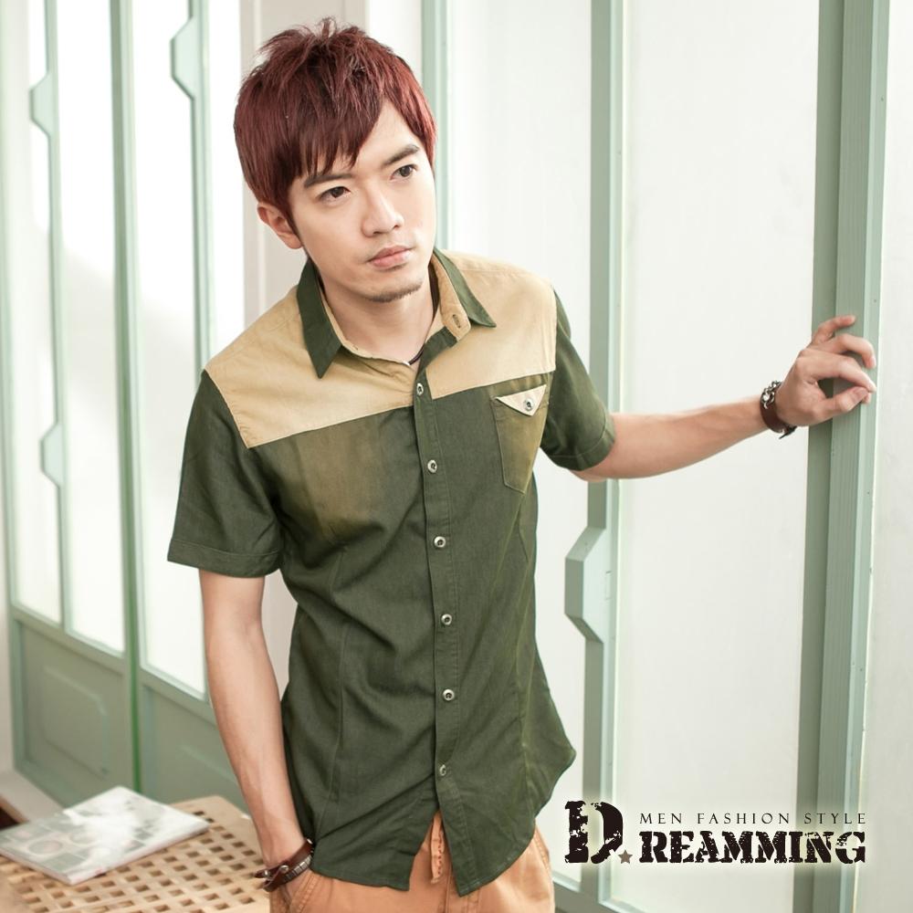 Dreamming 拼接絨布刷色牛仔短袖襯衫-共三色 (綠色)