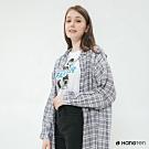 Hang Ten - 女裝 - 簡約格紋配色長版襯衫 - 藍