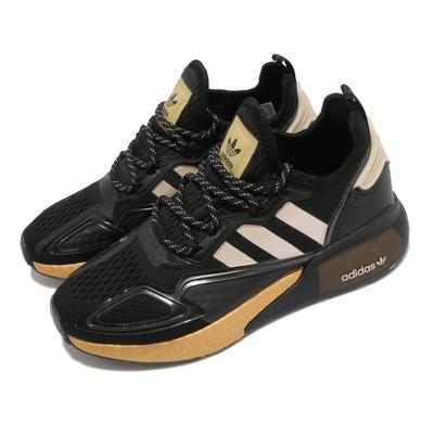 adidas 休閒鞋 ZX 2K Boost W 女鞋 海外限定 舒適中底 穿搭球鞋 套腳 黑 金 FY2014