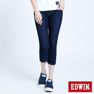 EDWIN JERSEYS 迦績  EJ2 透氣涼感修身窄管 七分牛仔褲-女-原藍磨