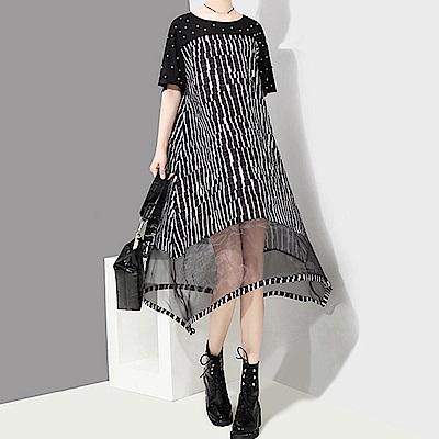 數位格紋網紗拼接釘珠洋裝-(黑色)Andstyle