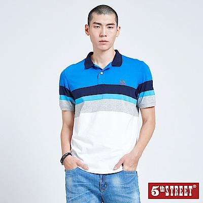 5th STREET 直條撞色POLO衫-男-藍色
