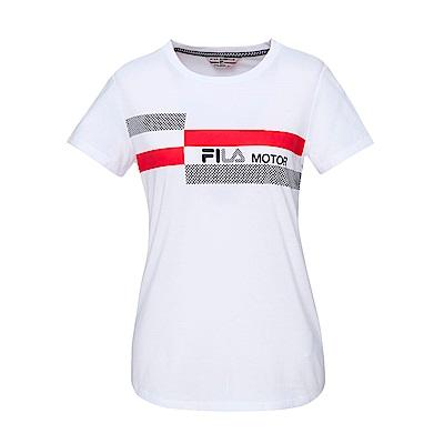 FILA 女款短袖圓領T恤-白色 5TET-1485-WT