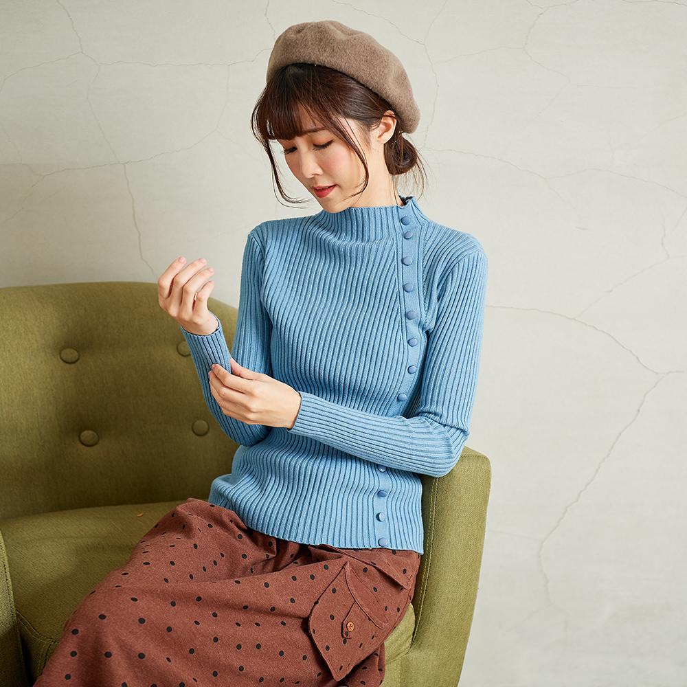 慢 生活 邊條扣造型坑條針織衫-藍色/杏色