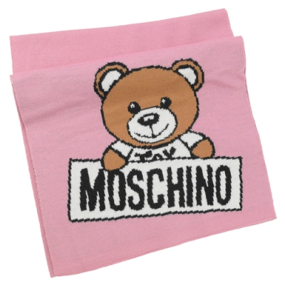 MOSCHINO 針織小熊圖樣羊毛圍巾(粉)