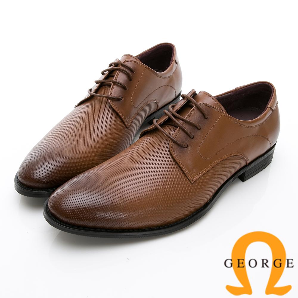 【GEORGE 喬治皮鞋】時尚職人系列 經典漸層小圓楦綁帶紳士鞋皮鞋-棕