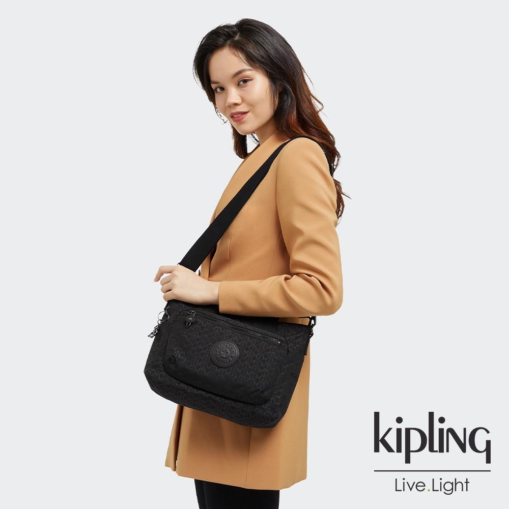 Kipling 經典黑菱格紋印花多袋拉鍊機能包-MIHO S