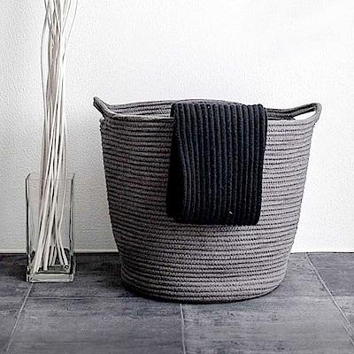 【收納職人】簡約北歐手感棉線編織大容量提把裝飾置物籃/髒衣籃/收納籃 (氣質灰)