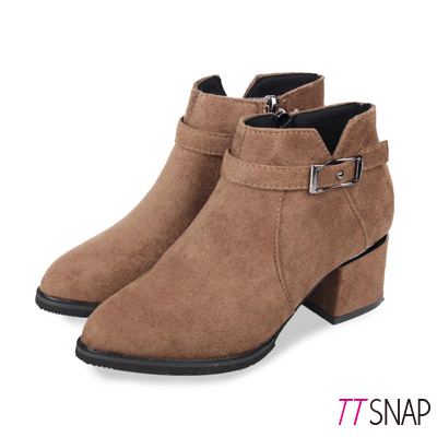 TTSNAP短靴-貴氣釦帶絨面後跟閃亮跟靴 卡其
