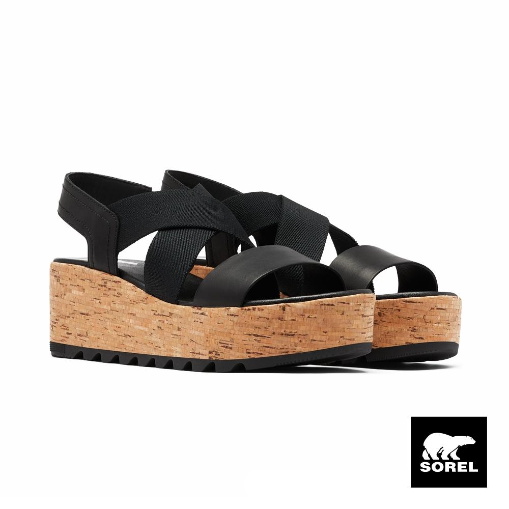 SOREL-女款卡麥隆系列厚底綁帶涼鞋-黑色