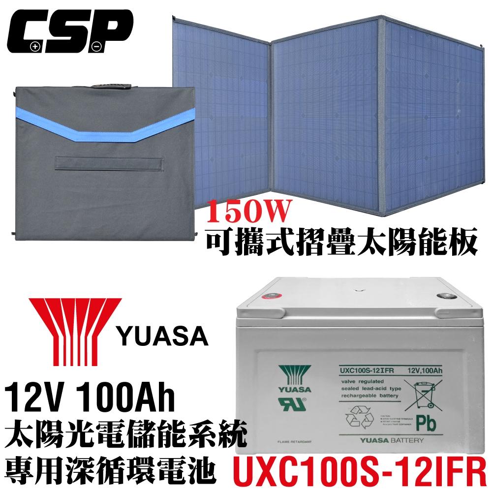【CSP】150W太陽能板+深循環電池 可收納攜帶 露營戶外用 電瓶充電 連接手機充電 露營車 SP-150+ UXC100S-12I FR